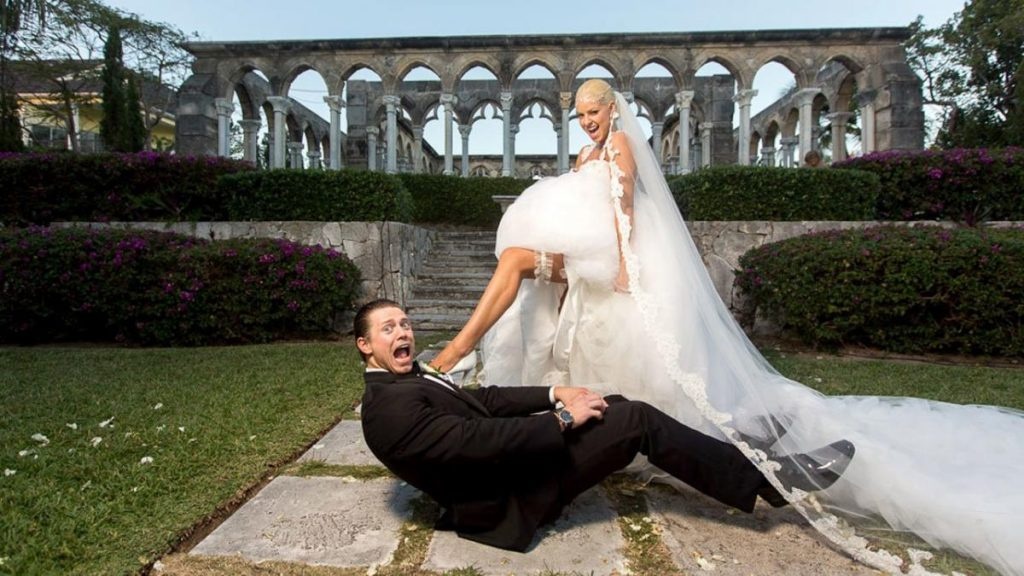 The Miz and his wife, Maryse Ouellet during their wedding photoshoot
